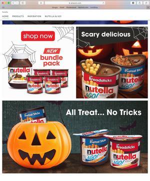 Nutella Amazon Halloween Homepage